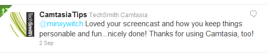 Screenshot of the Tweet from Camtasia giving me feedback on my video